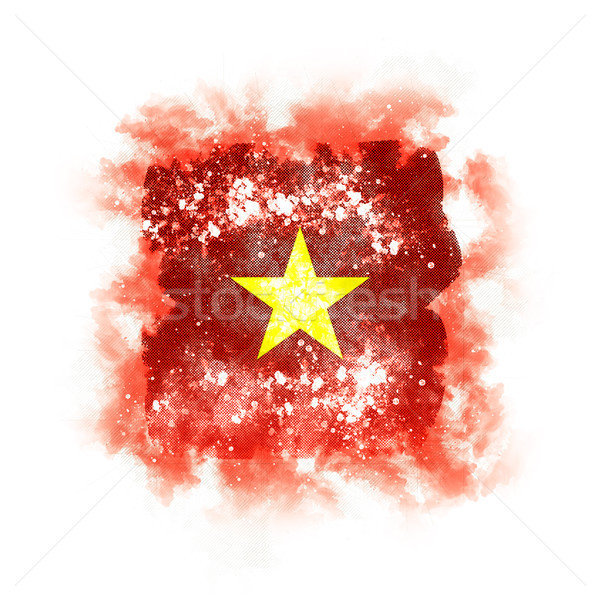 квадратный Гранж флаг Вьетнам 3d иллюстрации ретро Сток-фото © MikhailMishchenko
