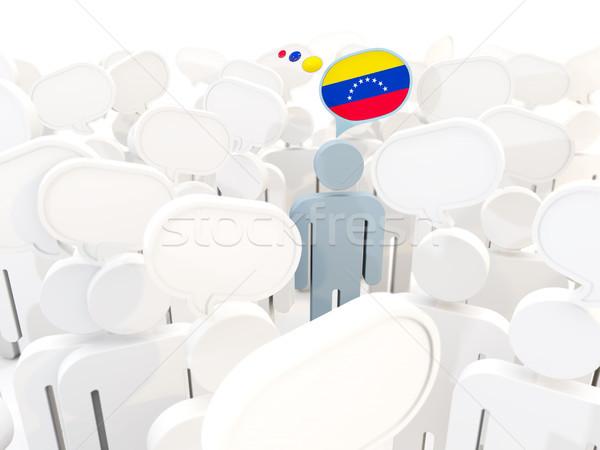 Homem bandeira Venezuela multidão ilustração 3d assinar Foto stock © MikhailMishchenko