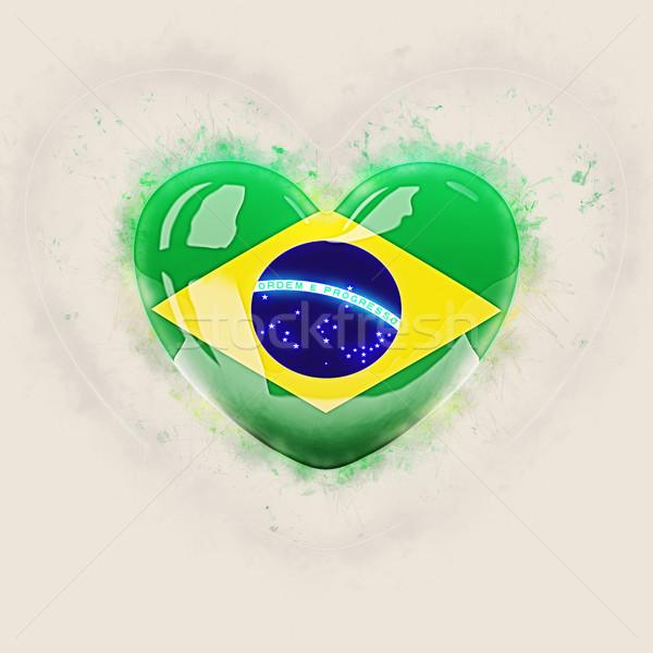 Kalp bayrak Brezilya grunge 3d illustration sevmek Stok fotoğraf © MikhailMishchenko