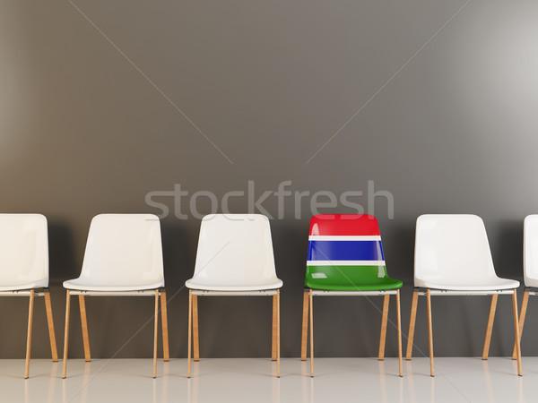 Krzesło banderą Gambia rząd biały krzesła Zdjęcia stock © MikhailMishchenko