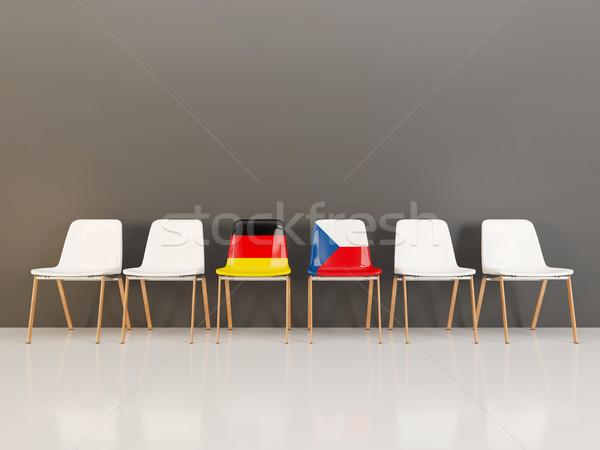 Székek zászló Németország Csehország csetepaté 3d illusztráció Stock fotó © MikhailMishchenko