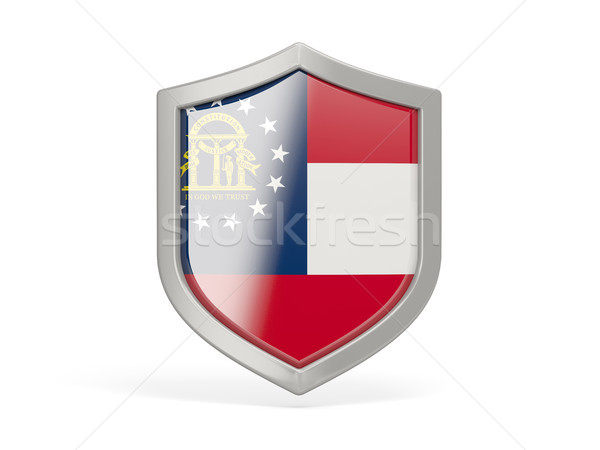 Shield icon with flag of georgia. United states local flags Stock photo © MikhailMishchenko