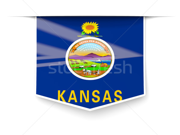 kansas state flag square label with shadow. United states local  Stock photo © MikhailMishchenko