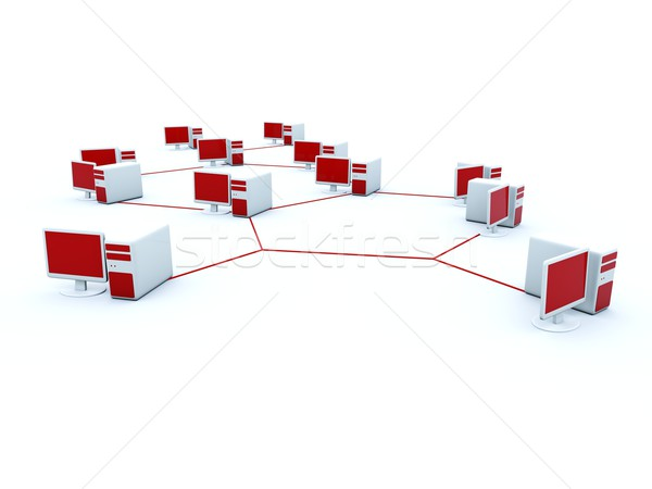 Computer cluster isolated on white Stock photo © MikhailMishchenko