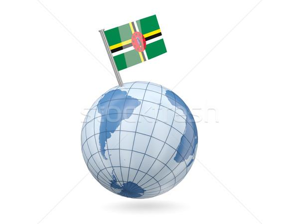 Wereldbol vlag Dominica Blauw geïsoleerd witte Stockfoto © MikhailMishchenko