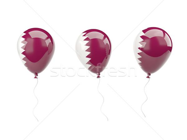 Powietrza balony banderą Katar odizolowany biały Zdjęcia stock © MikhailMishchenko