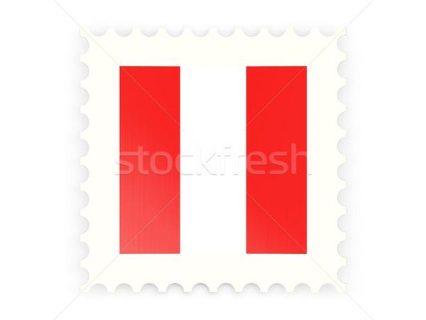 Postabélyeg ikon Peru izolált fehér felirat Stock fotó © MikhailMishchenko