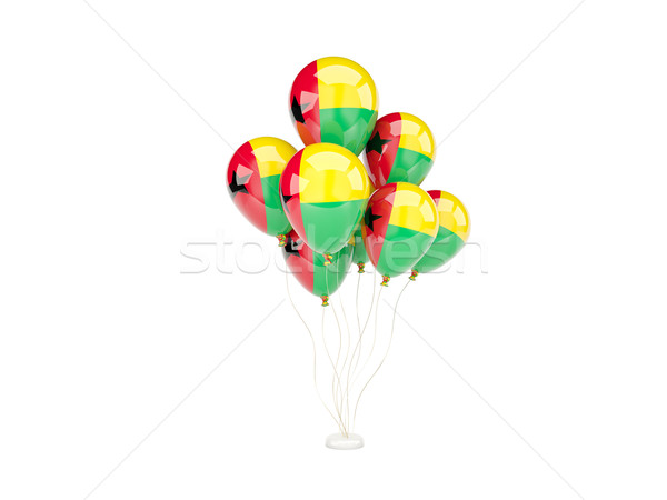 Vliegen ballonnen vlag Guinea geïsoleerd witte Stockfoto © MikhailMishchenko