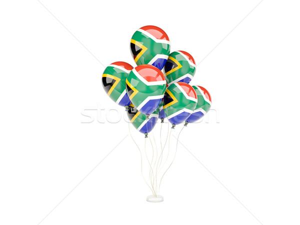 Repülés léggömbök zászló Dél-Afrika izolált fehér Stock fotó © MikhailMishchenko