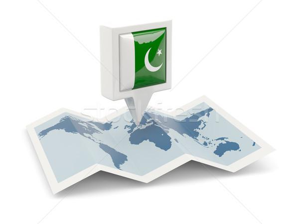 Tér tő zászló Pakisztán térkép utazás Stock fotó © MikhailMishchenko