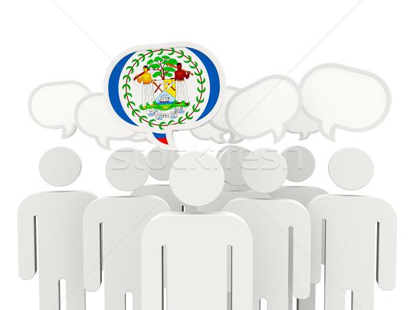 Emberek zászló Belize izolált fehér megbeszélés Stock fotó © MikhailMishchenko