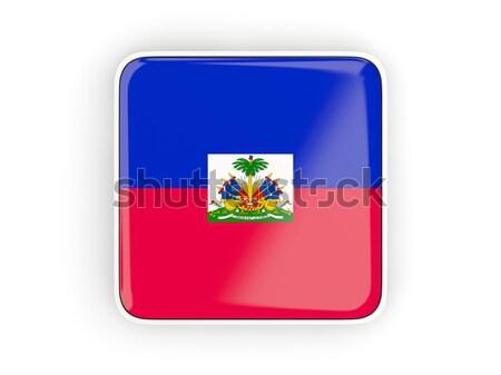 Kare ikon bayrak Haiti Metal çerçeve Stok fotoğraf © MikhailMishchenko