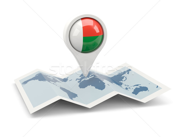 Round pin with flag of madagascar Stock photo © MikhailMishchenko