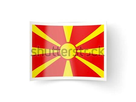 квадратный металл кнопки флаг Македонии изолированный Сток-фото © MikhailMishchenko