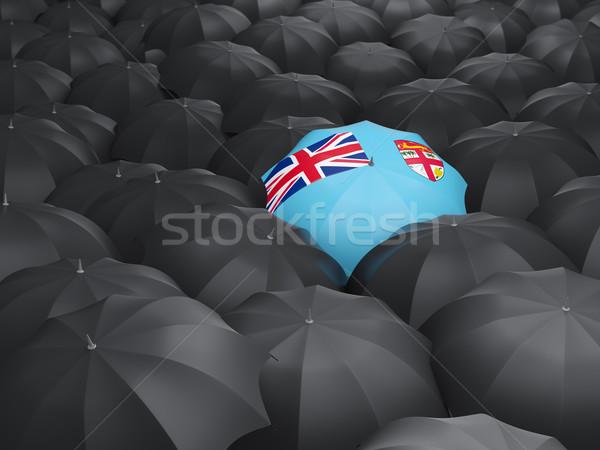 Esernyő zászló Fidzsi-szigetek fekete esernyők utazás Stock fotó © MikhailMishchenko