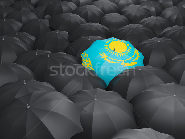 Dach Flagge Kasachstan schwarz Regenschirme Regen Stock foto © MikhailMishchenko