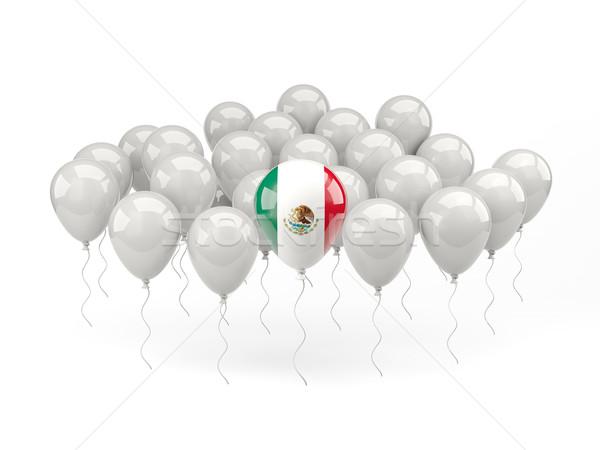 Сток-фото: воздуха · шаров · флаг · Мексика · изолированный · белый