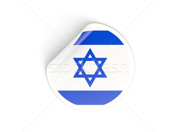 Sticker vlag Israël geïsoleerd witte reizen Stockfoto © MikhailMishchenko