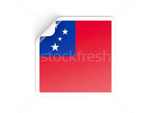 Vierkante sticker vlag Samoa geïsoleerd witte Stockfoto © MikhailMishchenko