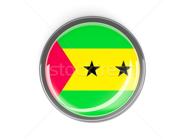 Round button with flag of sao tome and principe Stock photo © MikhailMishchenko