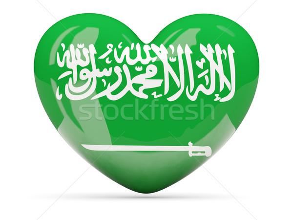 Foto stock: Coração · ícone · bandeira · Arábia · Saudita · isolado