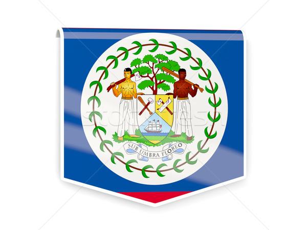 Zászló címke Belize izolált fehér felirat Stock fotó © MikhailMishchenko