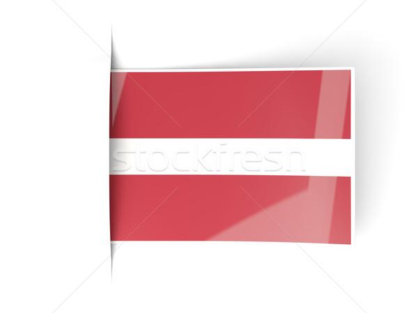Tér címke zászló Lettország izolált fehér Stock fotó © MikhailMishchenko
