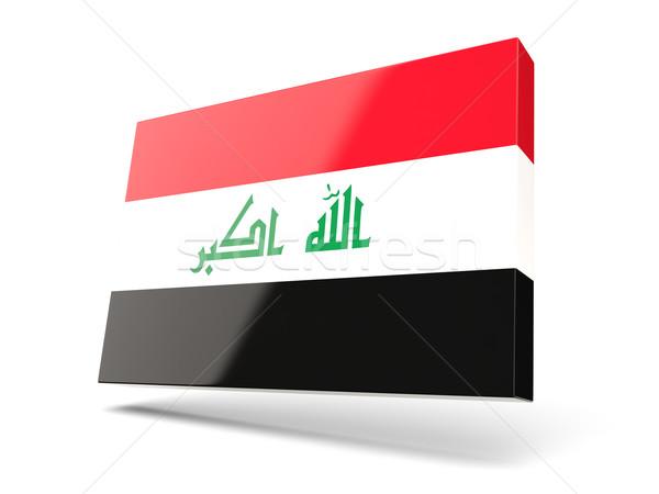 Praça ícone bandeira Iraque isolado branco Foto stock © MikhailMishchenko