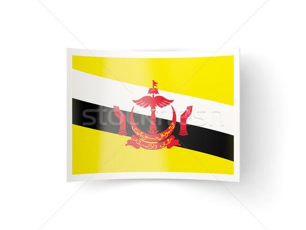 Icon vlag Brunei geïsoleerd witte land Stockfoto © MikhailMishchenko