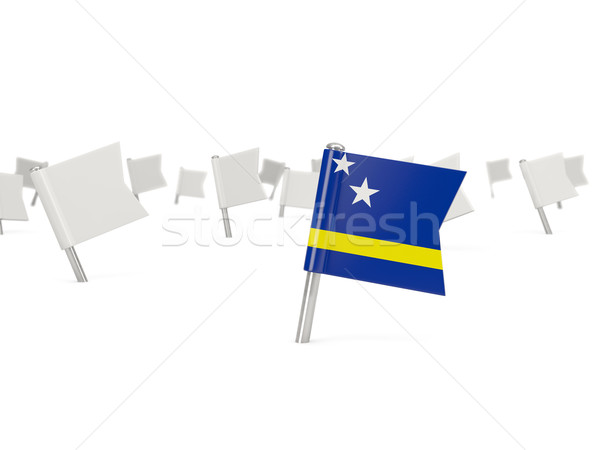 Square pin with flag of curacao Stock photo © MikhailMishchenko