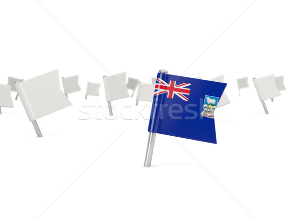 Square pin with flag of falkland islands Stock photo © MikhailMishchenko