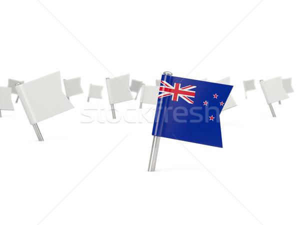 Cuadrados pin bandera Nueva Zelandia aislado blanco Foto stock © MikhailMishchenko