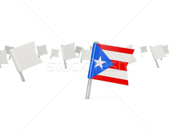 Vierkante pin vlag Puerto Rico geïsoleerd witte Stockfoto © MikhailMishchenko