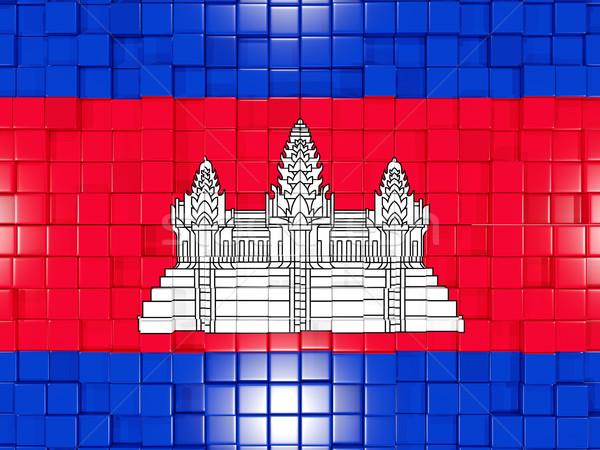 Carré pavillon Cambodge 3d illustration mosaïque Photo stock © MikhailMishchenko