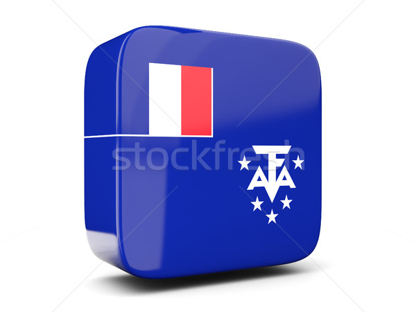 Square icon with flag of french southern territories square. 3D  Stock photo © MikhailMishchenko