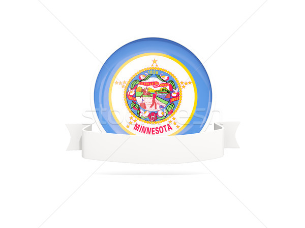 Flag of minnesota with banner, US state round icon Stock photo © MikhailMishchenko
