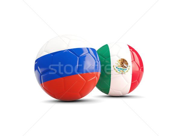Dois bandeiras isolado branco ilustração 3d futebol Foto stock © MikhailMishchenko