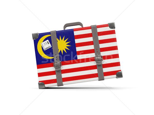 Bagaglio bandiera Malaysia valigia isolato bianco Foto d'archivio © MikhailMishchenko