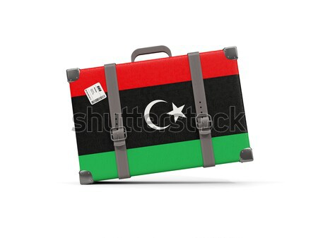 Luggage with flag of western sahara. Suitcase isolated on white Stock photo © MikhailMishchenko