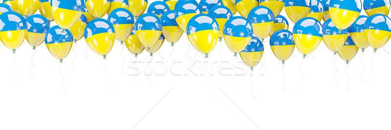 Balões quadro bandeira Ucrânia isolado branco Foto stock © MikhailMishchenko