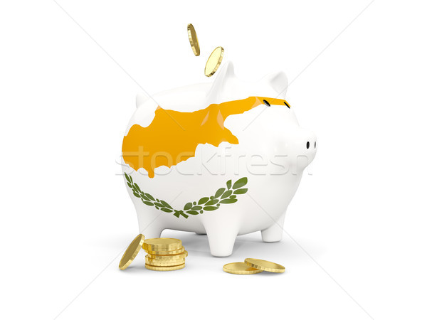 Fat piggy bank with fag of cyprus Stock photo © MikhailMishchenko