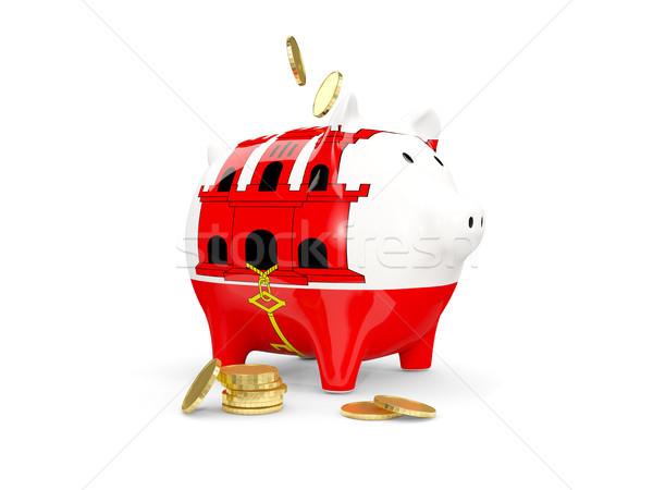Tłuszczu banku piggy gibraltar ceny odizolowany biały Zdjęcia stock © MikhailMishchenko