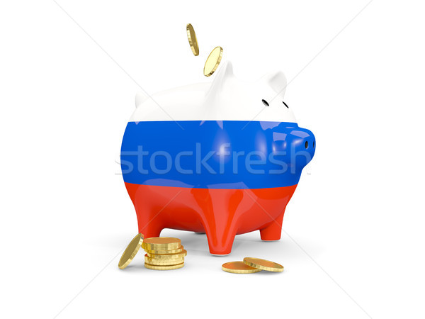 Stock photo: Fat piggy bank with fag of russia