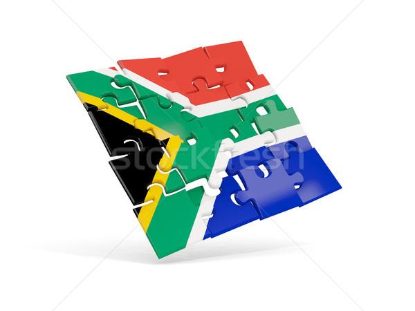 Puzzel vlag South Africa geïsoleerd witte 3d illustration Stockfoto © MikhailMishchenko