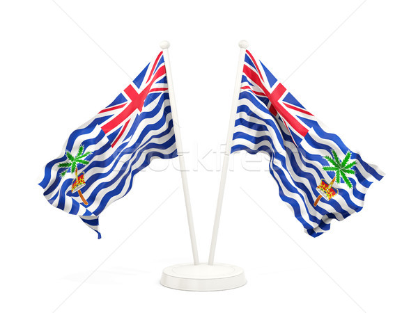 Stock photo: Two waving flags of british indian ocean territory
