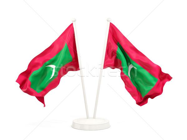 Kettő integet zászlók Maldív-szigetek izolált fehér Stock fotó © MikhailMishchenko