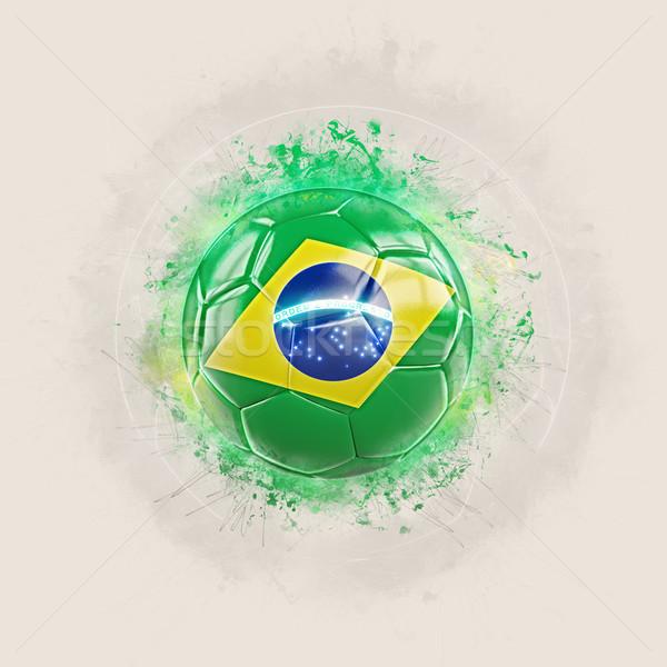 Grunge Fußball Flagge Brasilien 3D-Darstellung Design Stock foto © MikhailMishchenko