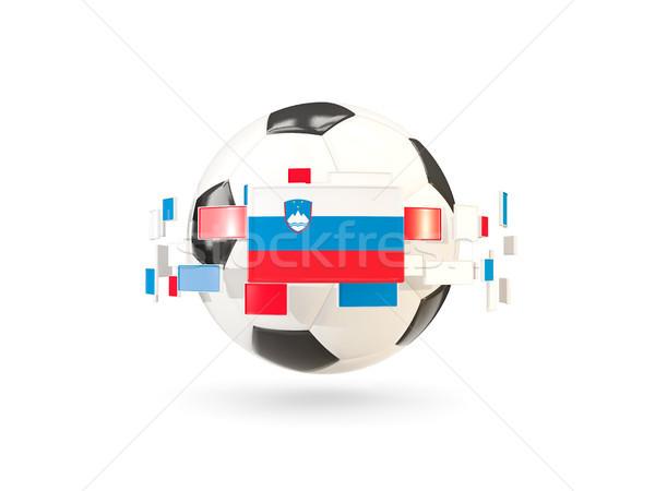 Futballabda vonal zászlók zászló Szlovénia lebeg Stock fotó © MikhailMishchenko