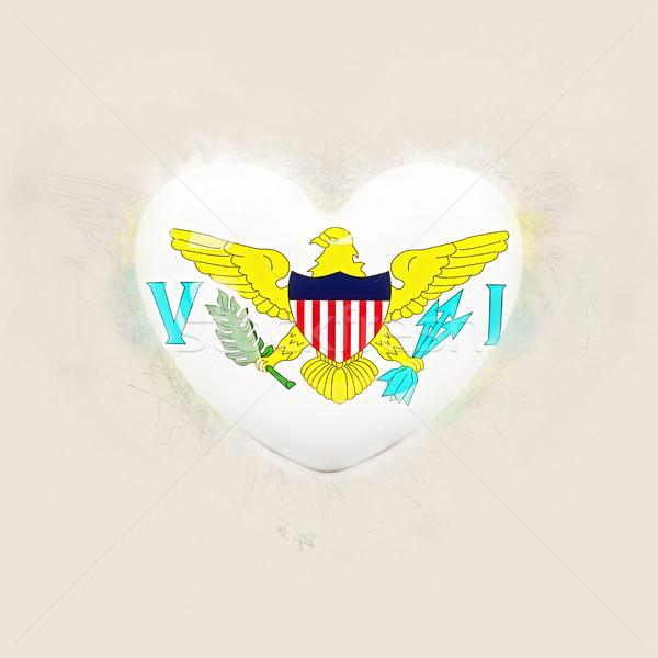 Cuore bandiera Virgin Islands grunge illustrazione 3d viaggio Foto d'archivio © MikhailMishchenko