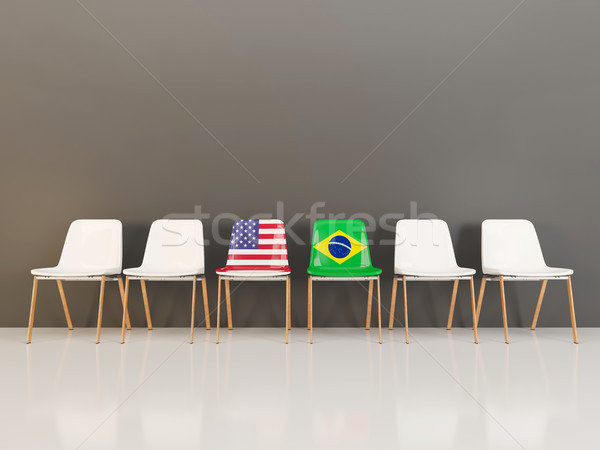 Chairs with flag of usa and brazil Stock photo © MikhailMishchenko